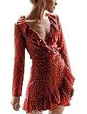 CoCo Fashion Damen Tiefen V-Ausschnitt Sommerkleid Tailliert Jerseykleid Knielang Wickelkleid Minikleid (Rot, EU L)