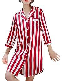 cc8b615b2 Camisa Suelta De Moda para Mujer Vestido De Rayas con Botones Abajo CamisóN  De Las SeñOras