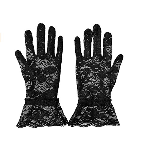 (Cosanter Spitzen Handschuhe Brauthandschuhe Damen Schwarze Spitzenhandschuhe Sexy Hochzeitshandschuhe)