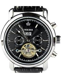 ORKINA KC042-L-Black - Reloj para hombres, correa de cuero color negro