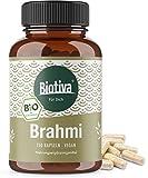 Brahmi organico (150 capsulas Veggie), 500 mg per capsula, Bacopa monnieri, pianta memoria, vegan, garantita senza additivi, fabbricato e controllato in Germania (DE-ECO-005), 100% vegan