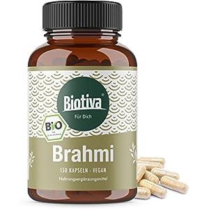 Brahmi Bio Kapseln – 150 Veggie Kapseln – 500mg pro Kapsel – Bacopa Monnieri – Gedächtnispflanze – vegan – Garantiert ohne Zusatzstoffe – Abgefüllt und kontrolliert in Deutschland (DE-ÖKO-005)