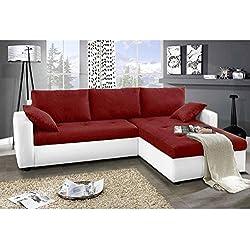 JUSThome Focus Sofá esquinero chaise longue función de cama Tejido / Cuero sintético Tamaño 142x239x93 cm 1115 Blanco / L-20 Brazo derecho
