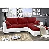 JUSTyou Focus Sofá esquinero chaise longue función de Cama Tejido / Cuero sintético Tamaño 142x239x93 cm 1115 Blanco / L-20 Brazo derecho