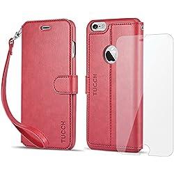Funda iPhone 6S Plus, Funda iPhone 6 Plus, TUCCH Funda Piel con Gratis Pantalla para iPhone 6S Plus/6 Plus, [Garantía de por vida], Ranuras para Tarjetas, Estilo Libro, Cierre Magnético, Rojo