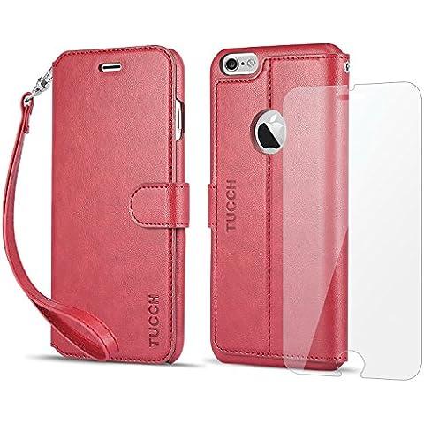 Funda iPhone 6S Plus, Funda iPhone 6 Plus, TUCCH Funda Piel con Gratis Protector Pantalla para iPhone 6S Plus/6 Plus, Soporte Plegable, Ranuras para Tarjetas, Estilo Libro, Cierre Magnético,
