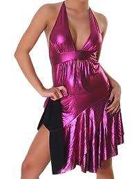 Robe de cocktail robe Mini-robe à encolure en V aspect cuir wet look taille unique (36,38,40) - différentes couleurs