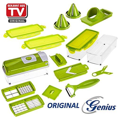 Produktbild Genius Nicer Dicer Smart | 16 Teile | Kiwi | Schneiden | Reiben | Julienne | Spiralen | Hobeln | Würfeln | Obst- und Gemüseschneider | Bekannt aus TV | NEU