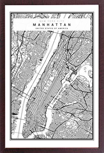 Manhattan-walnuss (Städte - New York - Manhattan - Vector - Stadt Städte Karte - Poster Plakat Druck - Grösse cm + Wechselrahmen, Shinsuke® Maxi MDF Walnuß, Acryl-Scheibe)