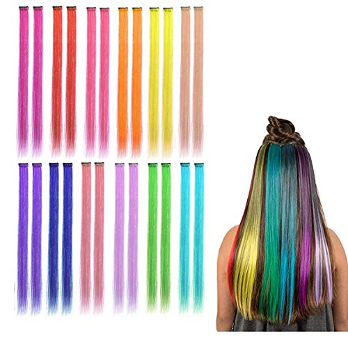 Kyerivs colored clip in hair extensions 55,9 cm arcobaleno resistente al calore dritto highlight hairpieces cospaly fashion party per bambini in 12 colori 24 pz