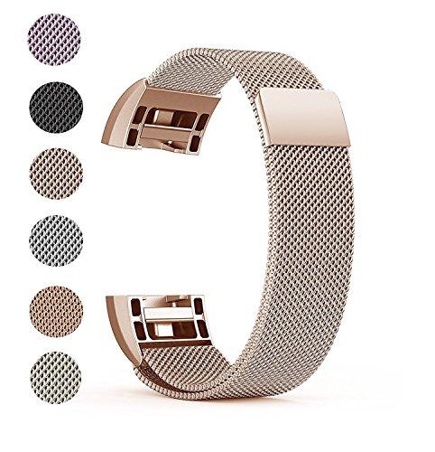 """Fitbit Charge 2 Ersatz Armbänd, BeneStellar Ersatz Milanese Band für Fitbit Charge 2 (Rose Gold, Small (5.7""""-7.8""""))"""