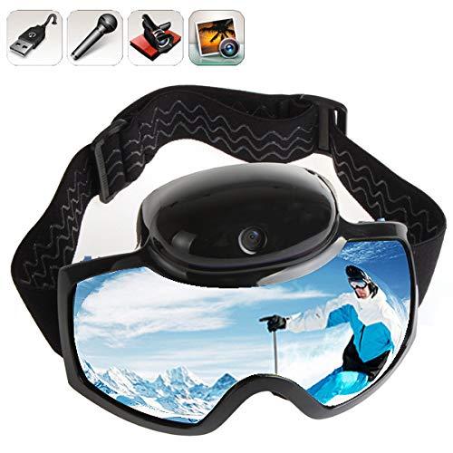ZKAMUYLC Skibrille 2019 Skibrille Maske 720P HD 1080P Kamera VideoMen Frauen Snowboard Brille Action Kamera Ski Brillen, FHD 1080P