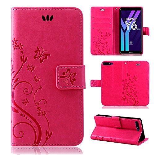 betterfon | Flower Case Handytasche Schutzhülle Blumen Klapptasche Handyhülle Handy Schale für Huawei Y6 2018 Pink