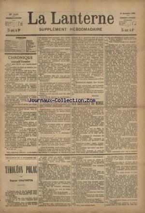 LANTERNE (LA) [No 125] du 21/11/1886 - LES COULISSES DU MONDE PAR SCHOLL - JEUNEURS ET MANGEURS PAR MARION - HARDI CARPENTRIE PAR CIGNEROL - LA MORTE PAR SMITH - LES PAYSANNES RUSSES PAR OUSPENSKY - LA SANTE PUBLIQUE PAR LE DR MARC - FEUILLETON / TIMOLEON POLAC PAR CHAVETTE