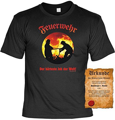 Feuerwehr Sprüche Motiv Fun T-Shirt und gratis Spassurkunde als Geburtstags-Vatertags-Weihnachts-Geschenk in vielen Motiven Farben schwarz und rot schwarz-04