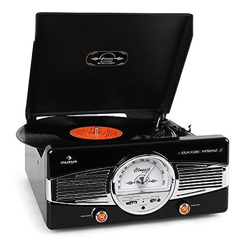 Auna MG-TT-82B Retro '50s Record Player Turntable FM Radio (Stereo Speakers, Smooth-Running, Retro Design) Black