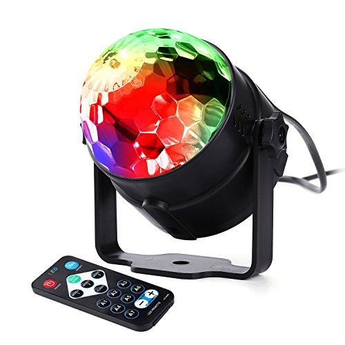 lederTEK LED Party Lampe mit Sprachsteuerungsfunktion, Bühnen Beleuchtung mit sieben verschiedenen Diskolichtern, Fernbedienung, Lichteffekte Sich an die Musik Anpassen