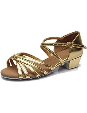 [Patrocinado]SWDZM Niñas Estándar de Zapatos de baile latino Satén Ballroom modelo-ES-203
