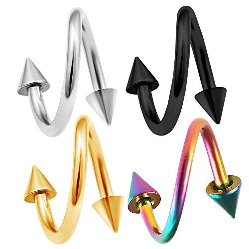 4 Stück spiral piercing twister ohr kegel chirurgenstahl 1,2mm unterlippe lippenpiercing lippe helix twist tragus eloxierter BFDR - 8mm