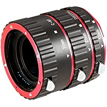 Neewer® Kit de 3 Tubes Allonges/Bagues d'Extension Macro Aluminium Rouge Auto Focalisation pour Canon EOS DSLR SLR Lens Extreme Close-Ups (Rouge) Adapté aux Canon EOS 1D 1Ds Mark II III IV 5D Mark II 7D 10D 20D 30D 40D 50D digital Rebel XT xti xs xsi t1i t2i T4i t5i 300D 350D 400D 450D 500D 550D 650D 700D 1000D (Métal Baïonnette)