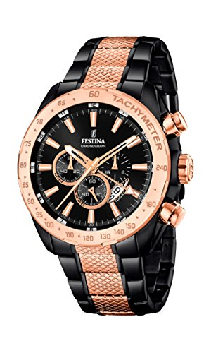 Festina Men's Quartz Watch with Black Dial Chronograph Display and Multicolour Stainless Steel Plated Bracelet F16888/1