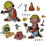 Unbekannt 15 tlg. Set Wandtattoo / Fensterbild / Sticker groß - Bob der Baumeister - Wandsticker selbstklebend Rollo Walze Dampfwalze