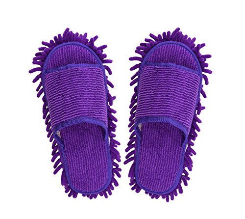 Mikrofaser Putzhausschuhe Multifunktions Putz-Hausschuhe Staub Mop Hausschuhe Bodenreinigung Slippers Shoe für Badezimmer Büro Küche Open Toe Holz