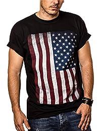 T-Shirt Drapeau Americain Homme USA Vintage Noir S-XXXL