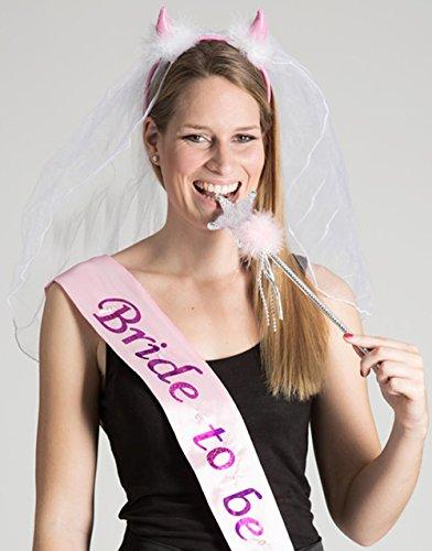 Preisvergleich Produktbild Party-Teufel Set: Teufelshörner mit Brautschleier und blinkende Schärpe Aufschrift BRIDE-TO-BE inkl. Zauberstab Accessoires Junggesellenabschied Bridal Shower Brautparty