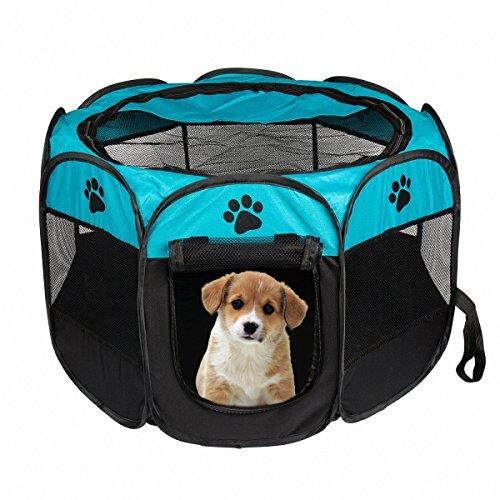 Portable Pet Laufstall, Hund Welpen Laufstall mit 8-Panel Kennel Mesh Schatten Abdeckung Wasserdichtes Gewebe Indoor/Outdoor Pet Zelt Zaun für Hunde und Katzen (S & L) (S, Blue) -