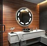 Design Badspiegel mit LED Beleuchtung Wandspiegel Badezimmerspiegel nach Maß (Durchmesser: 45cm)