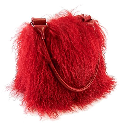 Handtasche aus Tibetlamm Fell und Kalbsleder (Rot Lammfell Handtasche)