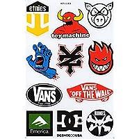 1x A4Sticker Sheet: Skateboard, Skater, DC Vans Zoo York Etnies Element Bomb Alien Workshop Stickers, Motorcross, BMX, Bike, Scooter, Quad, Go Cart, Decal, Contour Cut