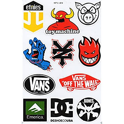 Underground Graphix - Hoja de pegatinas para skateboard, diseño de DC, Santa Cruz, Zoo York, Etnies, Element y Alien Workshop