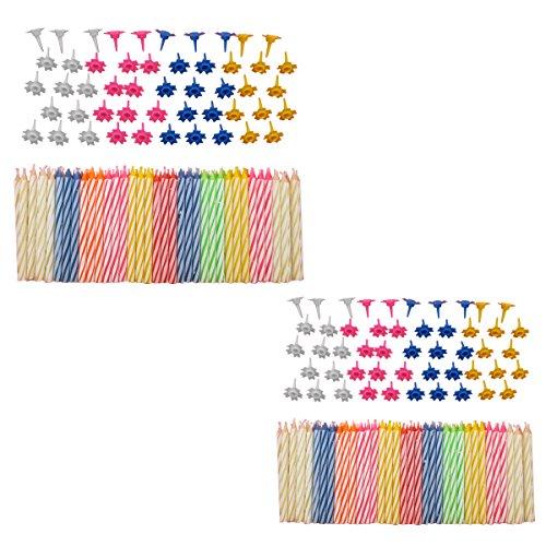 Set de bougies décoratives de anniversaire, avec supports faciles à utiliser, multicolore, 152 Pièces