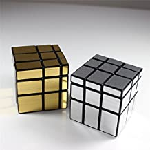 HappyToy ShengShou espejo velocidad cubo 3x3 espejo Mirror Block Puzzle Cubo torcido Magic Cube juguete (2pcs (plata + dorado))