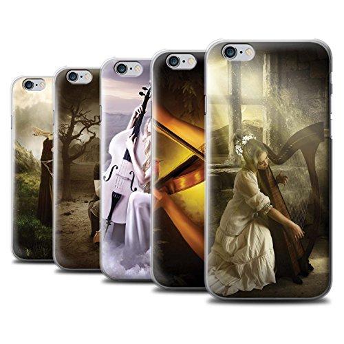 Officiel Elena Dudina Coque / Etui pour Apple iPhone 6+/Plus 5.5 / Violoncelle/Nuages Design / Réconfort Musique Collection Pack 6pcs