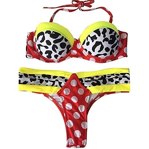 Moollyfox Dos Piezas Impreso De Mujer Traje De Baño Bikini Tanga Swimsuit Push Up Vestidos De Baño
