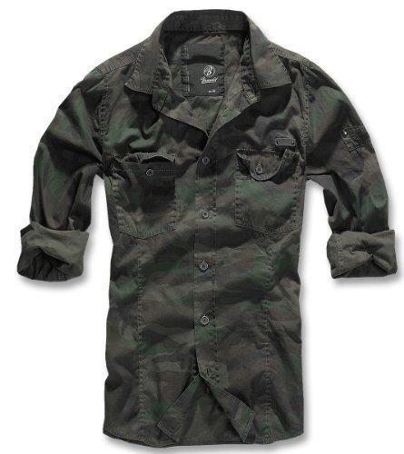 BRANDIT Uomo Slim Shirt Camicia da Uomo B-4005 - cotone, Bosco, 100 % 100% cotone cotone cotone 100%, Uomo, M