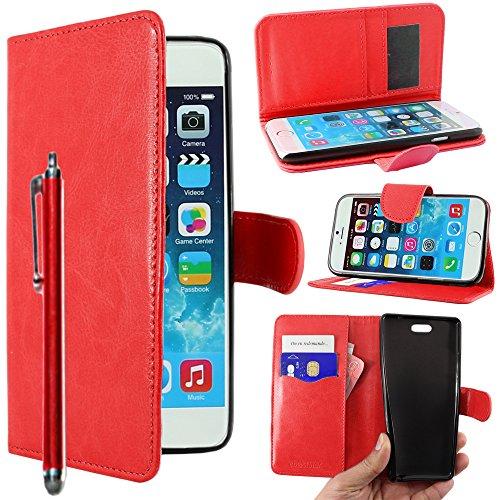 """ebestStar - pour Apple iPhone 6S 6 écran 4.7"""" - Housse Coque Etui Portefeuille Support PU Cuir + Stylet tactile, Couleur Noir [Dimensions PRECISES de votre appareil : 138.1 x 67 x 6.9 mm, écran 4.7''] Rouge"""