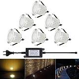 FVTLED 6er Set LED Bodeneinbaustrahler Aussen DC12V 0.6W IP67Wasserdicht Treppen Led Einbaustrahler Licht