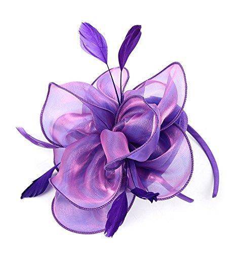 EEVASS Damen Tulle Feather Fascinator Cocktail Hut Haarclip Hochzeit Derby Party (Violett)