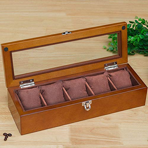 BYJHMB Gioielli portagioie Scatola Gioielli Watch Box Solid Wood sunroof Glass Storage Box Bracelet Jewelry Gift Collection Box with Display Box Storage Box-5 Oval Cover Black