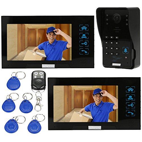 KKMOON Videotuersprechanlage 7 Zoll Video Tür Telefon Intercome Türglocke Touch Button ID Karten/Code/Fernbedienung Unlock Night Vision Regendichtes Security CCTV-Kamera Startseite Überwachung TP02SR-12