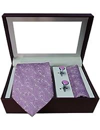 Riyasat - Paisley Design Pink Color Micro Fibre Men,s Tie, Cufflink and Pocket Square Gift Set .(S_070)