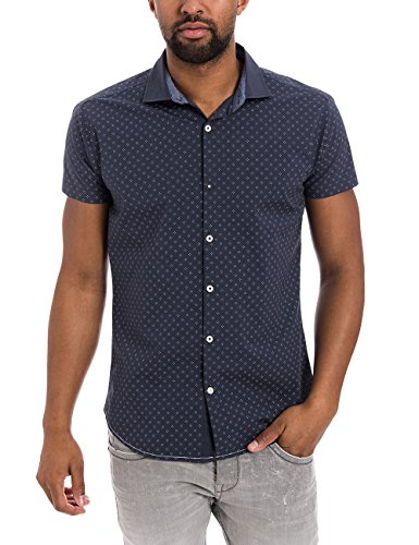 Timezone Herren Freizeithemd Shortsleeve Shirt Blau (mood indigo minimal 3868)