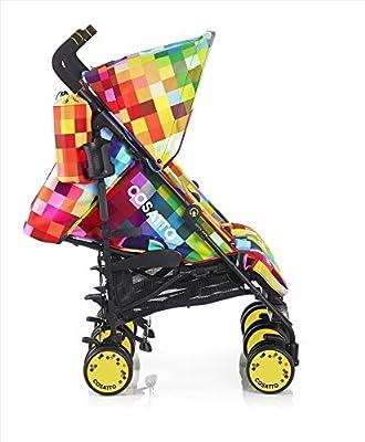 Cosatto Supa Dupa Pixelate - Silla de paseo gemelar con manillar ajustable y cesta, multicolor