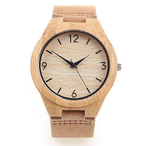 iMing Neu Handgefertigte Uhren Hölzernes Korn Natürlich Holz Uhren Echtes Lederband Armbanduhren Geschenke