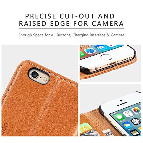 Custodia iPhone 6s SHIELDON® Custodia in Pelle per iPhone 6s / iPhone 6 4.7 Pollici, con Funzione di Protettiore Supporto di Stand, Case Cover per Carte di Credito, Colore Marrone Marrone