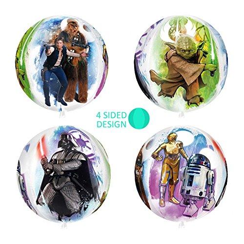 New 40,6cm Star Wars große Orb Ball Folie Ballon Party Geschenkidee 4-seitige Designs kultigen Classic Figuren Darth Vader Chewbacca Han Solo Yoda C-3PO D2